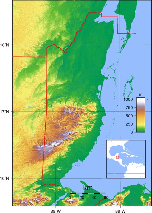 Belize's topography determines its differences in temperature and rainfall.