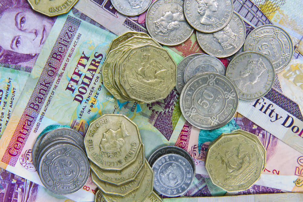 A picture of belize currency, dollars and coins.
