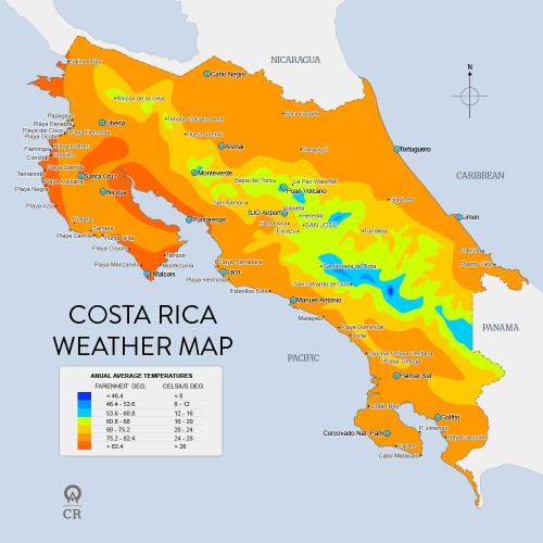 A diagram of a Costa Rica weather map.