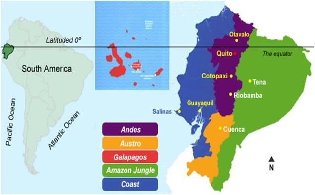 Map of Ecuador's main climate zones.