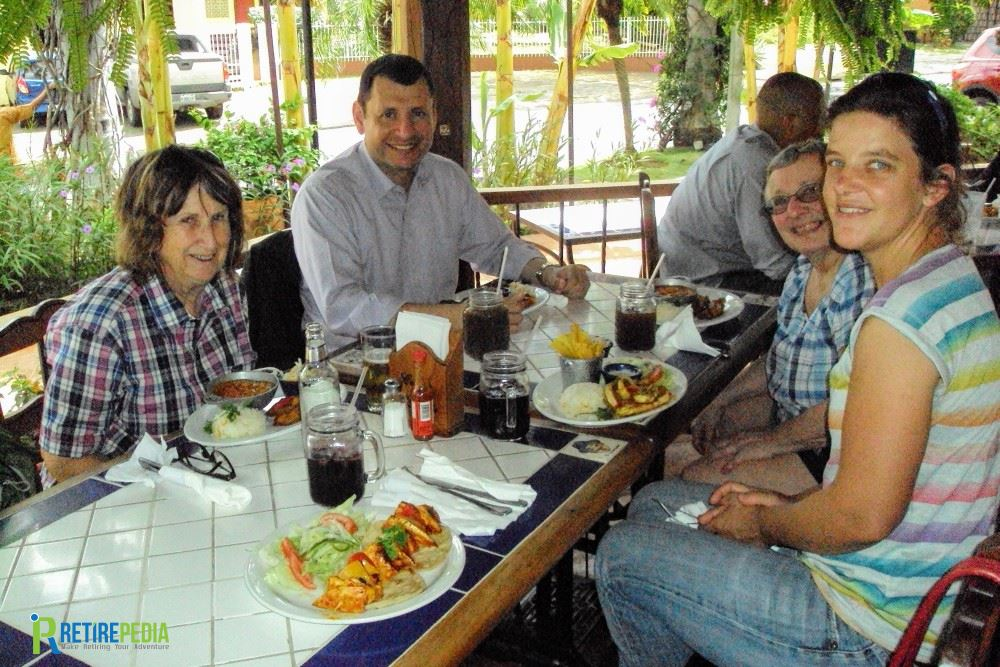 Enjoying a typical Nicaraguan lunch at the restaurant Cocina Doña Haydee. We met there with attorney Sergio Corrales to discuss residency requirements and other legal questions.