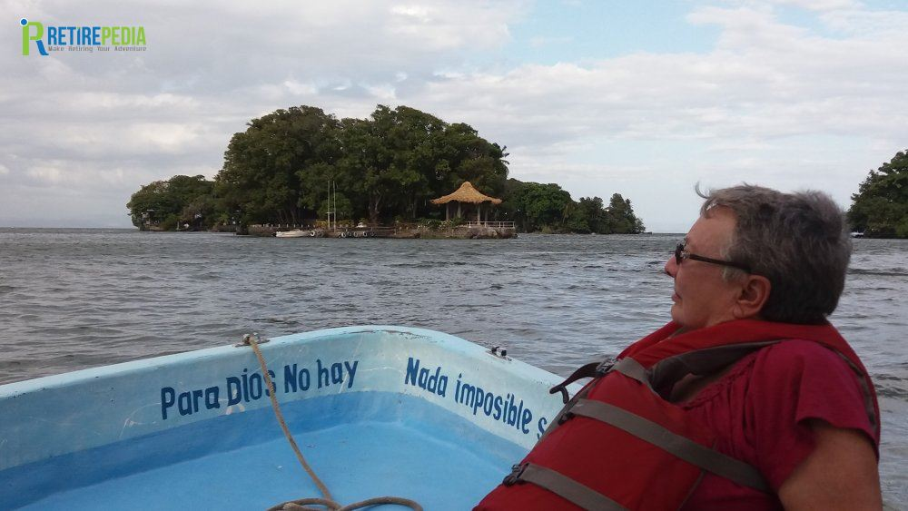 Julie enjoys our boat trip on Lake Cocibolca (or Lake Nicaragua). Granada is on the shores of this large freshwater lake (the largest in Central America).