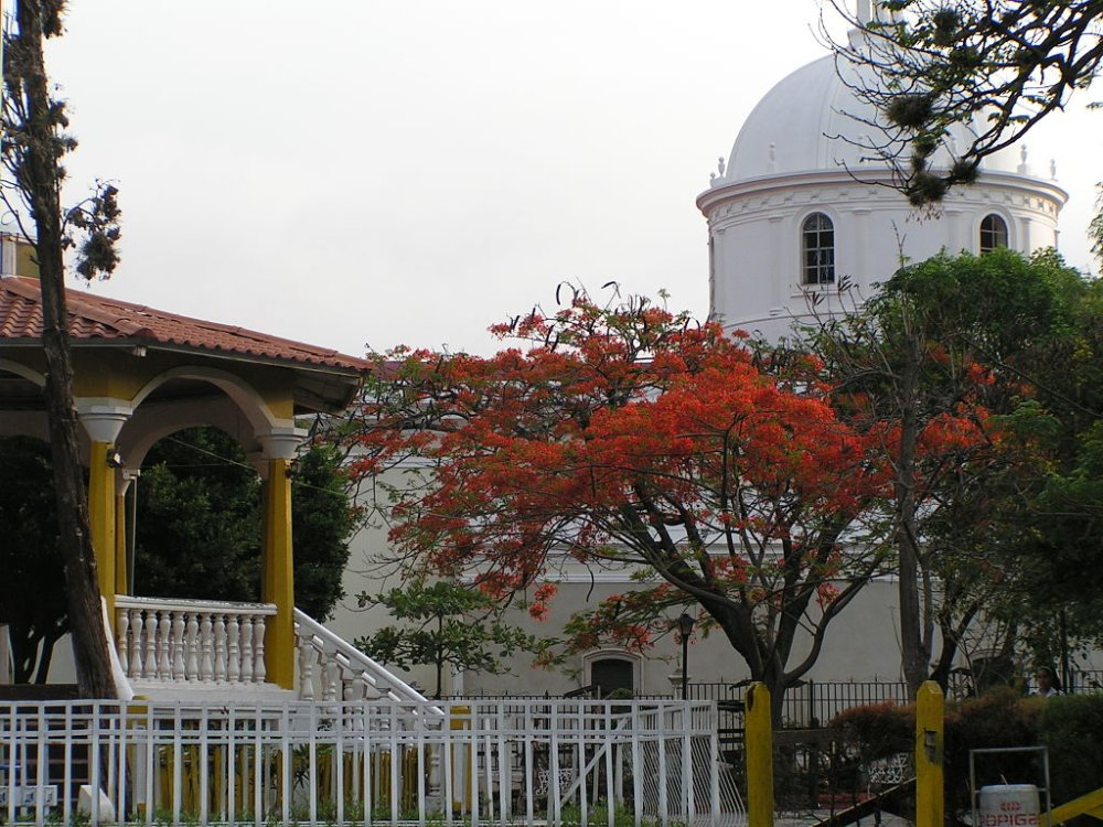 Matagalpa's main cathedral, as seen from Parque Morazan, one of the city's two main parks.