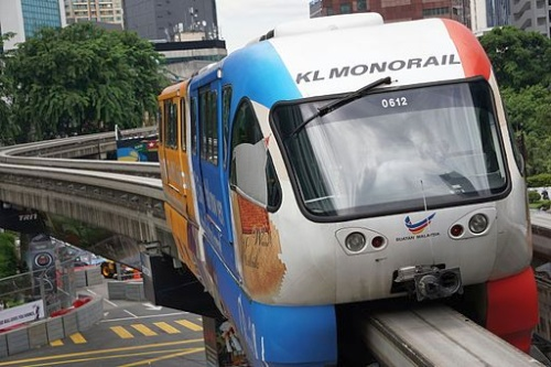 Kuala Lumpur's Monorail Train [Photo by Khairil Yusof (Own work), via Wikimedia Commons]