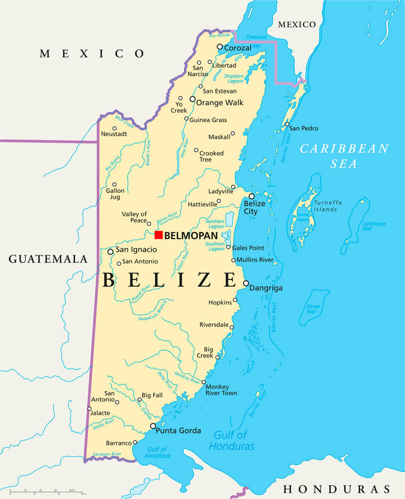 A map of Belize.