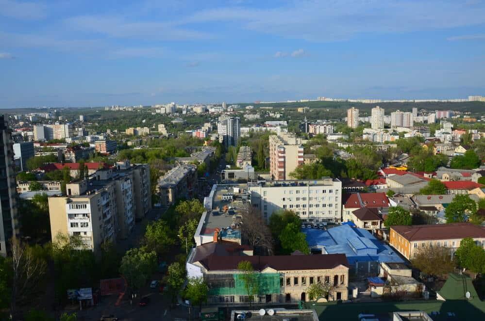 A drone picture of Chisinau, Moldova