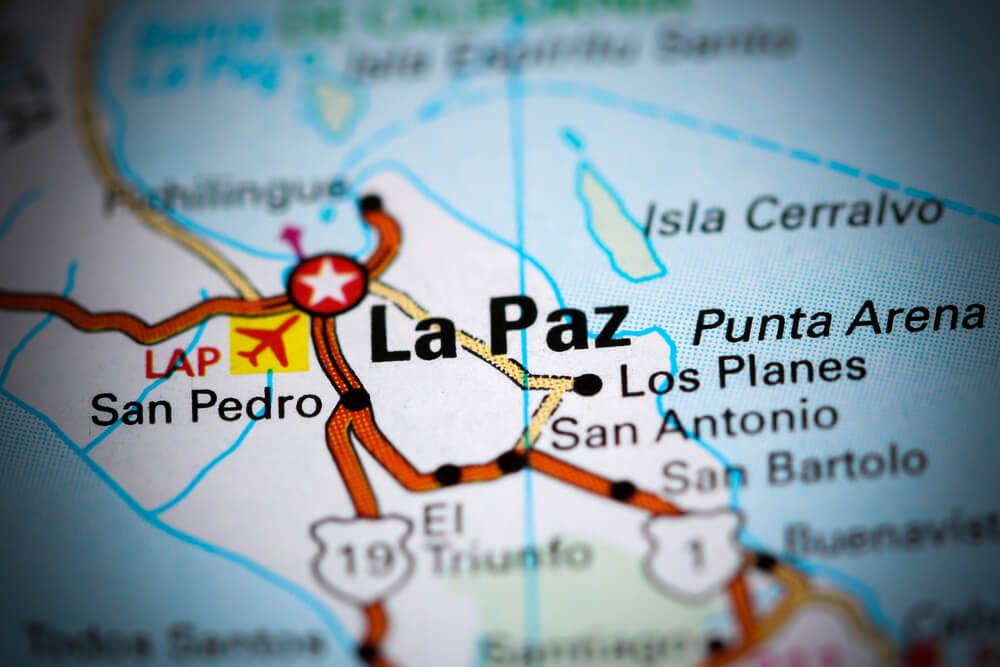 A map of La Paz, Mexico.