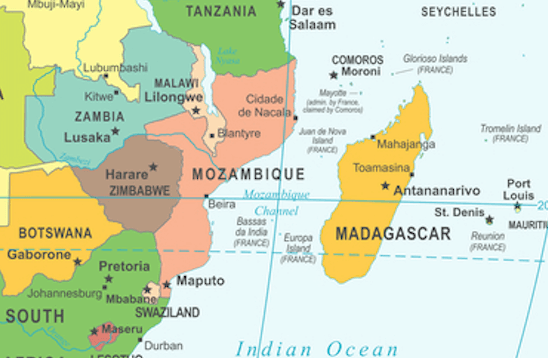 A map showing the island of Madagascar and the surrounding countries.