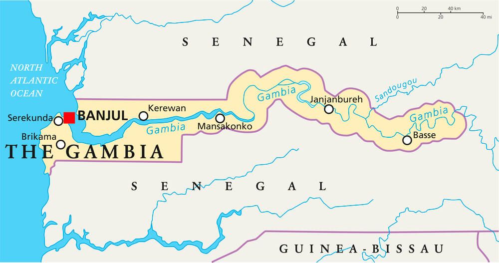 A map of The Gambia.