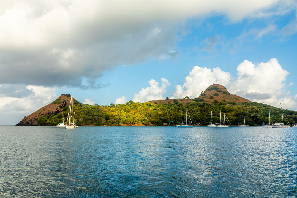 A picture of Rodney Bay in St. Lucia. Sailboats are in the bay.