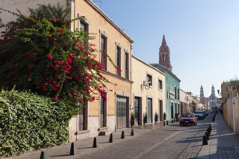 A picture of the city streets of Aguascalientes, Mexico. There's several buildings with cars driving down the street.