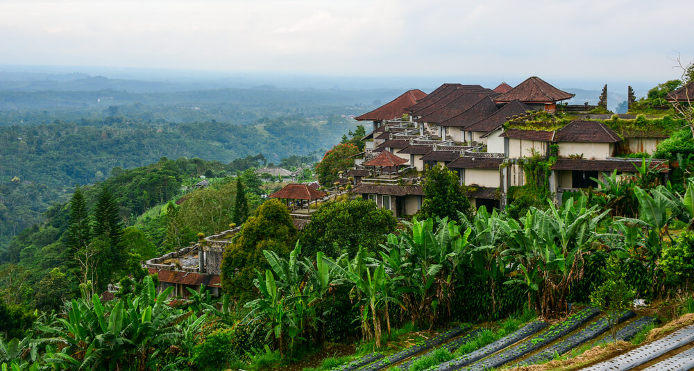 A village on a hillside in Indonesia.