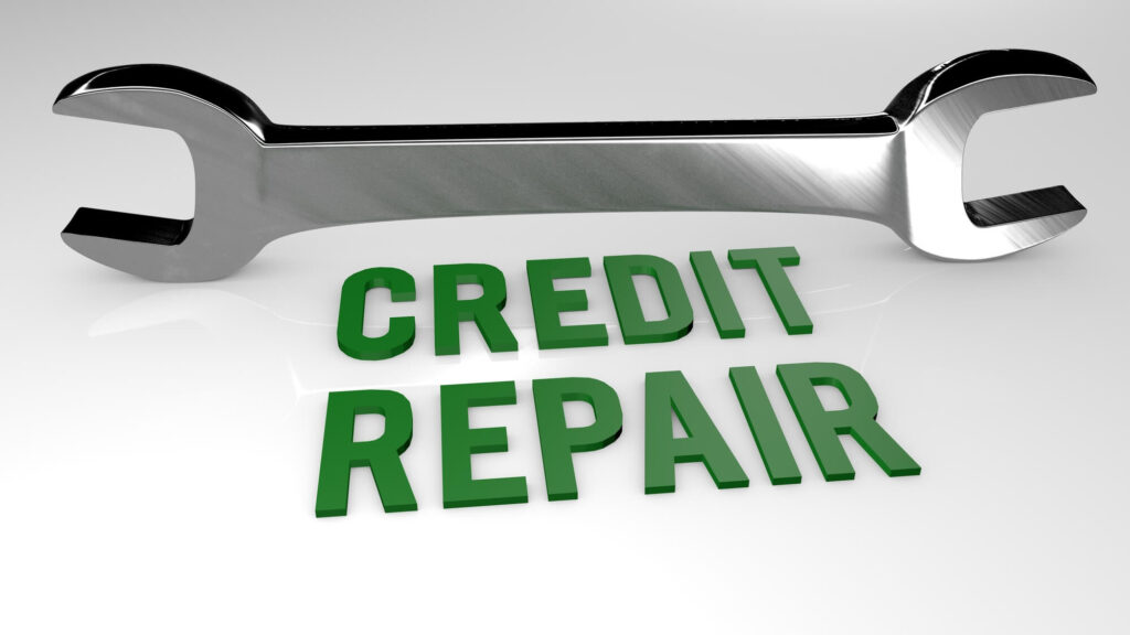 An illustration of a wrench beneath the words credit repair