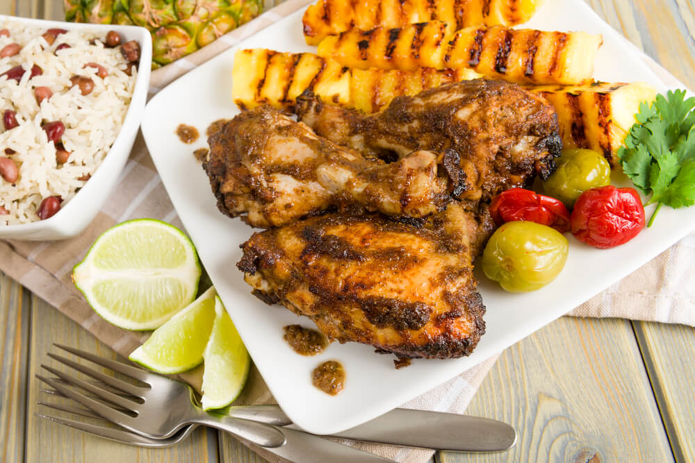 A picture of jerk chicken, a Jamaican food.
