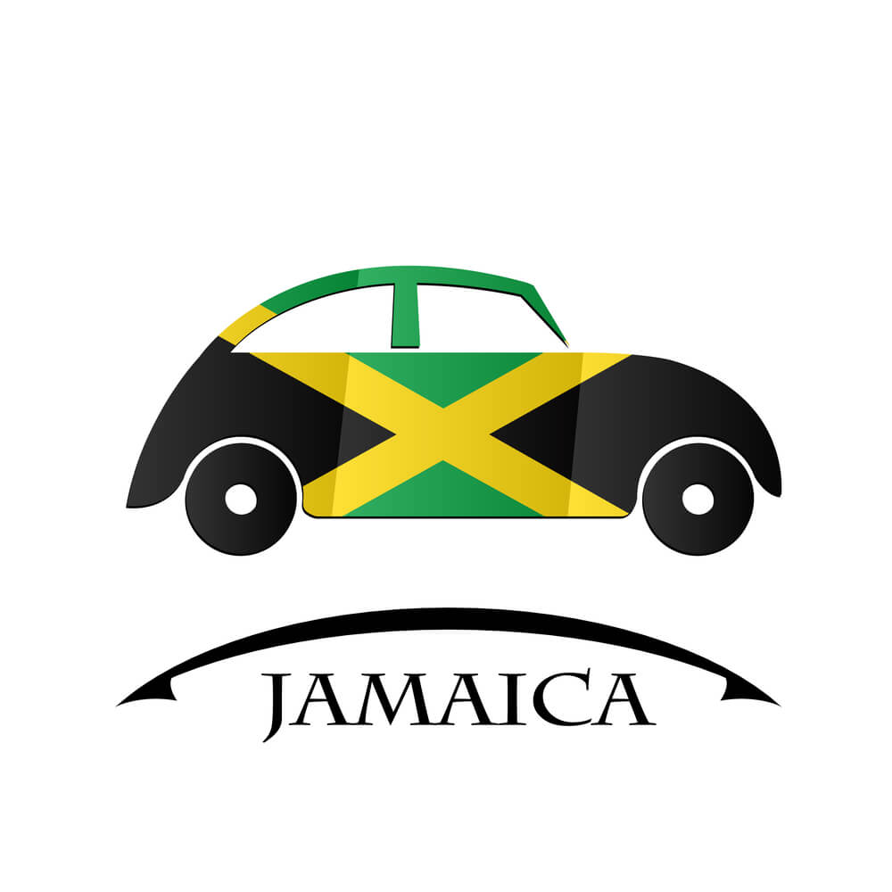 An animated picture of a car with the Jamaican flag design on the side. The word Jamaica underneath it.