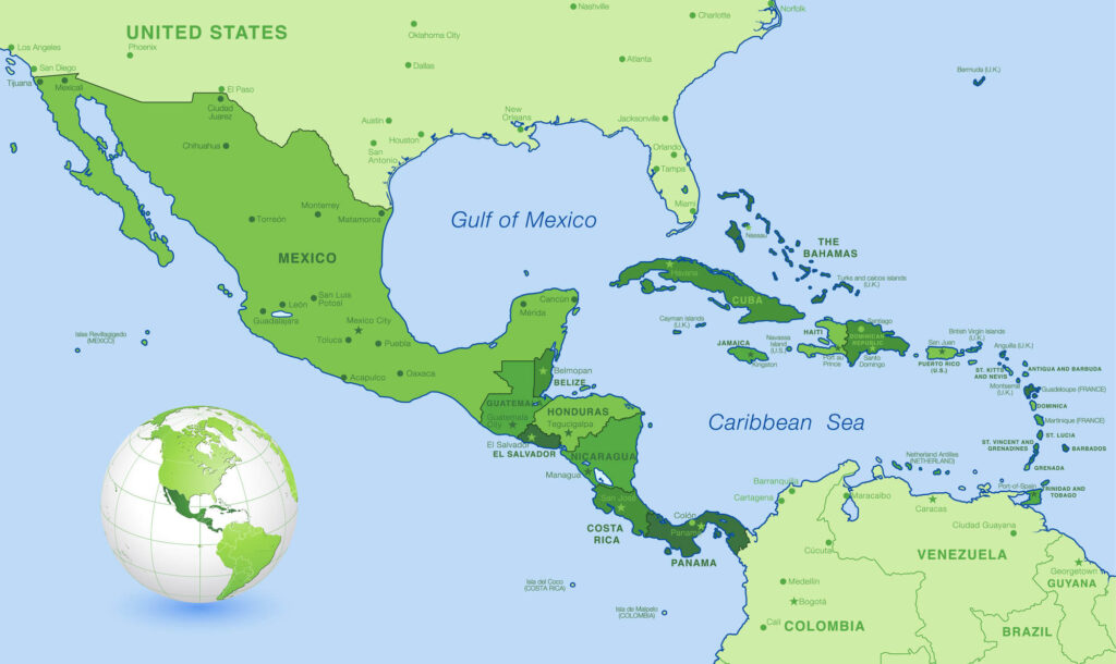A map of central America which features Cost Rica and Panama