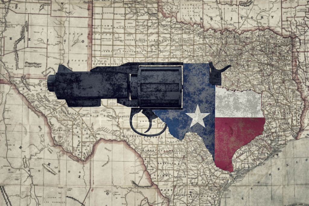 An artistic illustration depicting a map of texas with a gun super imposed over it