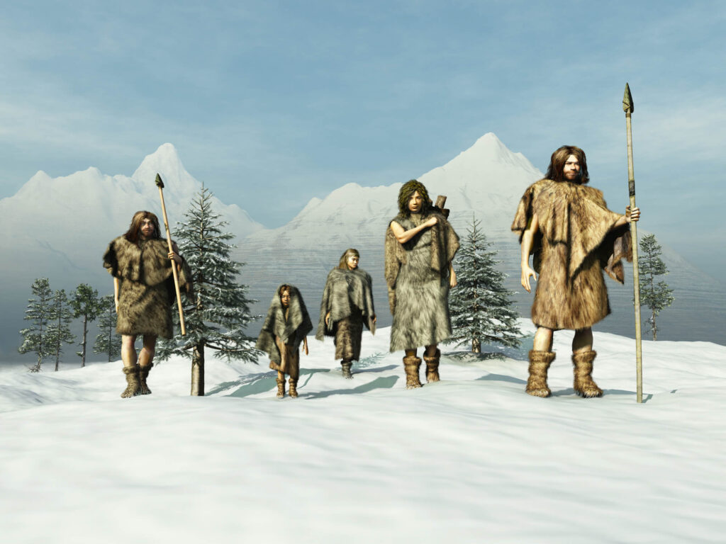 An illustration of a neanderthal family, includig two adults and three children
