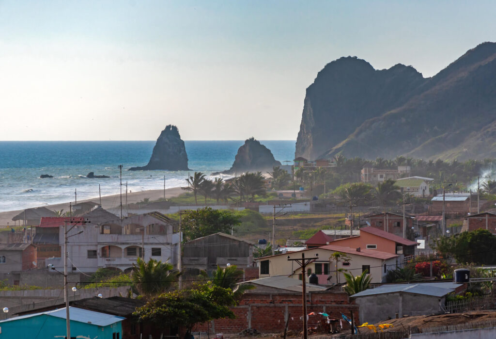 A image showing the town and beach of San Lorenzo, Manabi, Ecuador, just before sunset