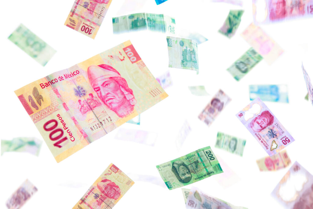 A photo of several different Mexican bank notes on a white background