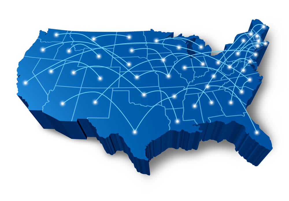 An illustration showing a map of the United States with interconnected dots, representing the telecommunications network in America