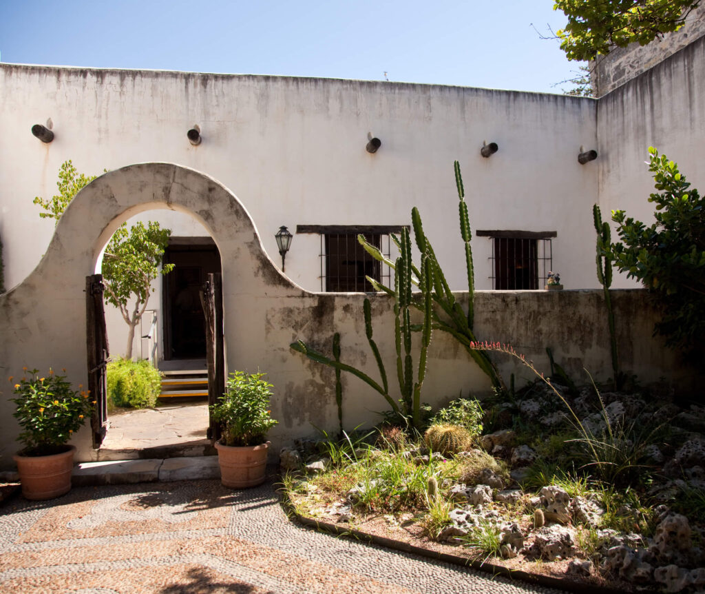 An image of a traitional house. It shows a whitewashed stone wall, cactus plants, pot plants, and a pebble footpath