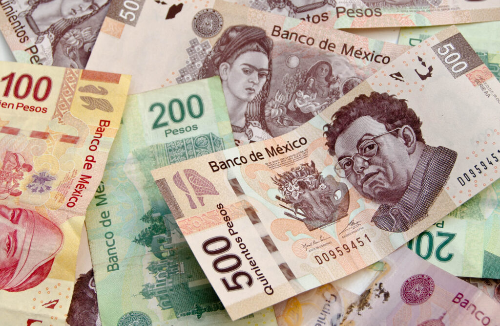 An image showing a collection of paper currency from Mexico