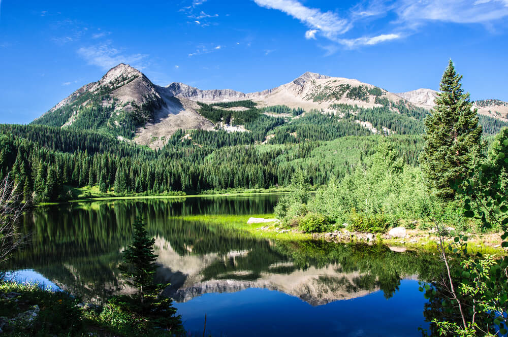 A photograph of a beautiful lake, forest and mountain range in Colorado, USA. It shows a calm lake with a reflection of the pine trees and snow capped mountain range surrounding it