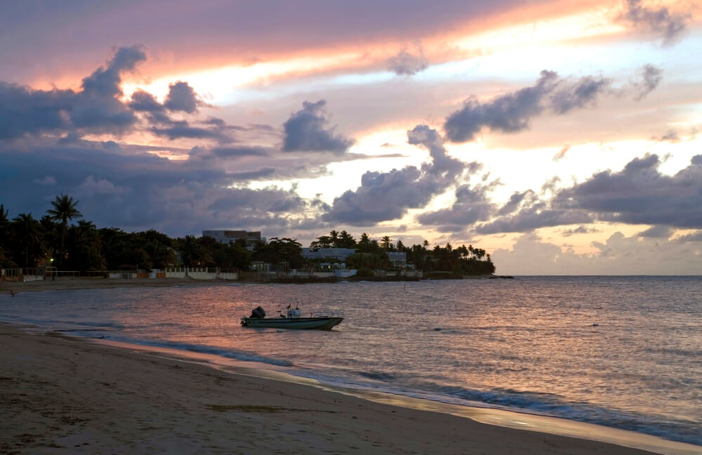 A picture of a beach outside of Dorado Puerto Rico. It shows a curved beach with palm trees and a pink sunset. In the distance are several buildings