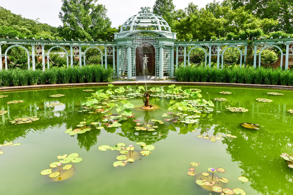 A picture taken at Old Westbury Gardens Mansion in Long Island. It shows a large green pond and pavillion