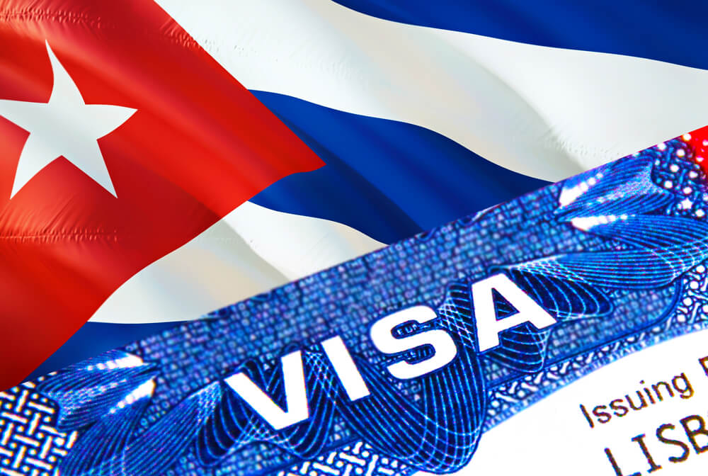 An illustration of a cuban flag with a visa form laying on top of it. The flag features a red section with a white flag, along with blue and white stripes