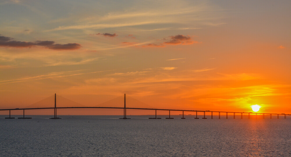 An image of Sunshine Skyway Bridge Silhouette on Tampa Bay, Florida. It i located near Safety Harbour