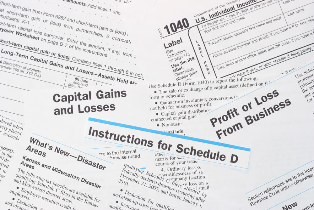 A photo of several documents which relate to capital gains tax and business income in California and Nevada