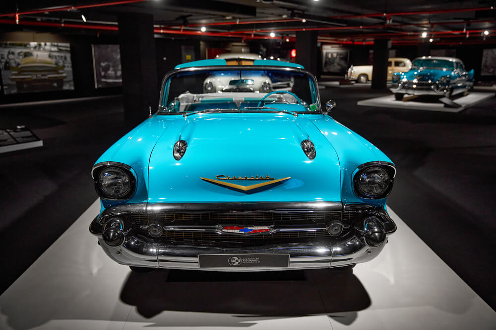 A photo of the Chevy Bel Air, another popular vehicle in 1957