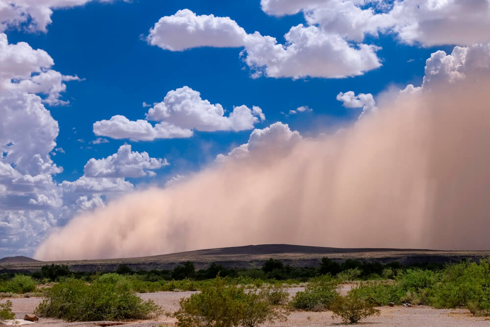 A dust storm blowing across the Phoenix area