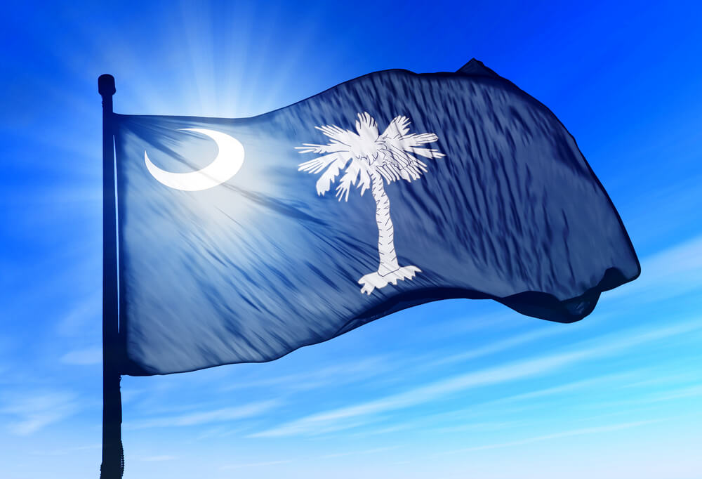 The blue South Carolina flag, featuring a crescent and palm tree. Sunlight can be seen coming through the flag.