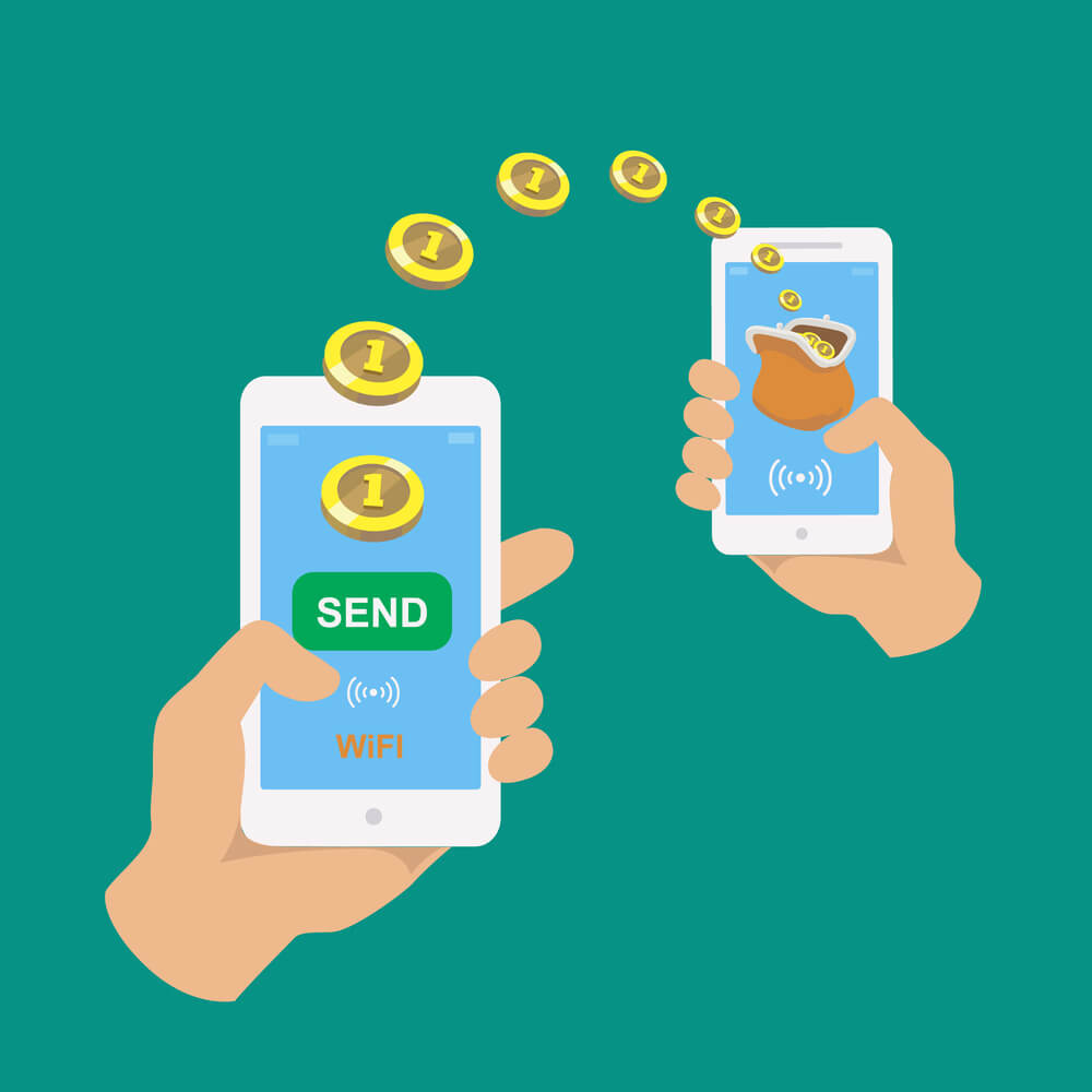 A drawn cartoon image showing two hands, each holding a smartphone. There are coins flying from one phone to the second phone.