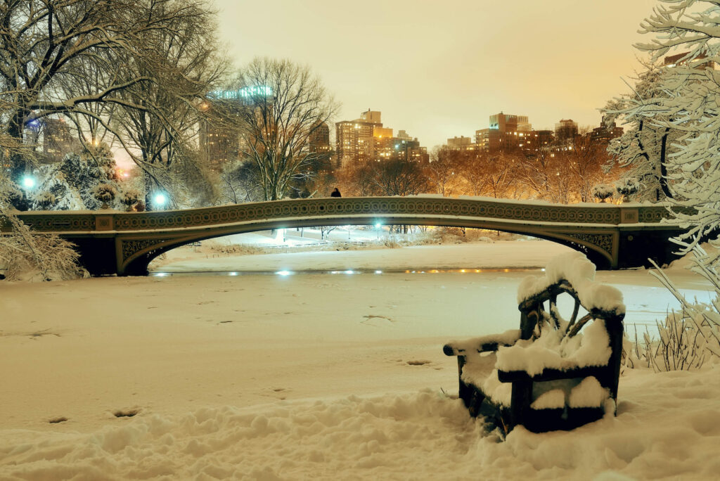 A picture of central park in the winter. A bridge and park bench covered in snow. Lots of city lights in the distance.