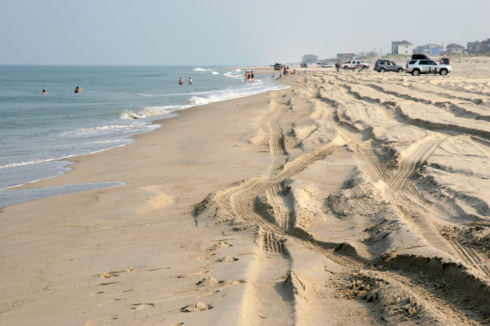 A photo looking down the sandy beach. To the left are folks swimming. To the right are vehicles that were driven onto the beach. Many tire tracks can be seen in the sand