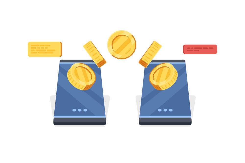 A digital drawing of two blue cell phones with large gold coins flowing in between them