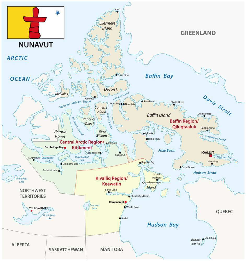 A drawn map showing the Nunavut area of Canada, along with the territory's flag
