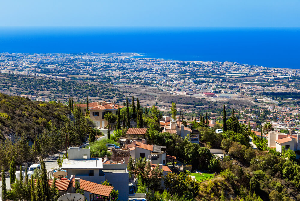 Aerial photo from a mountain in Cyprus looking over the city and sea below