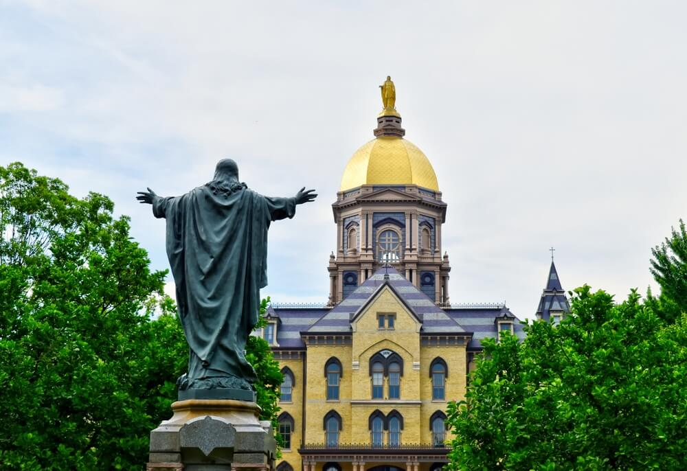 A photo of the statue and gold dome at the University of Notre Dame