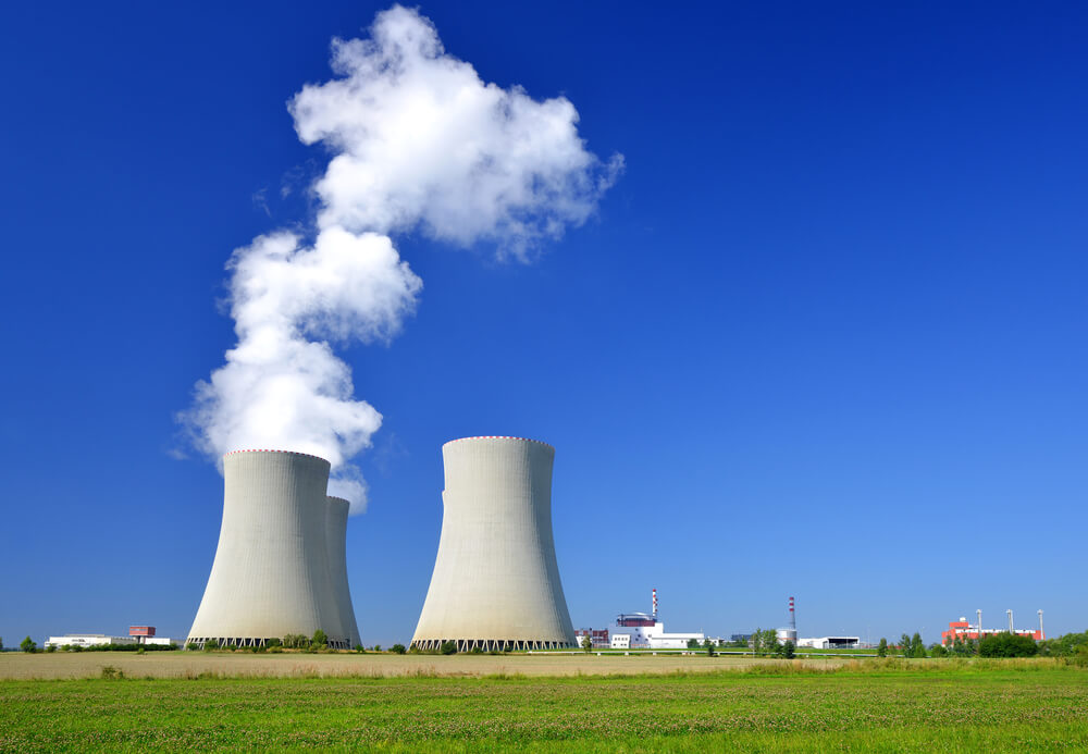 A photo of a steaming nuclear reactor