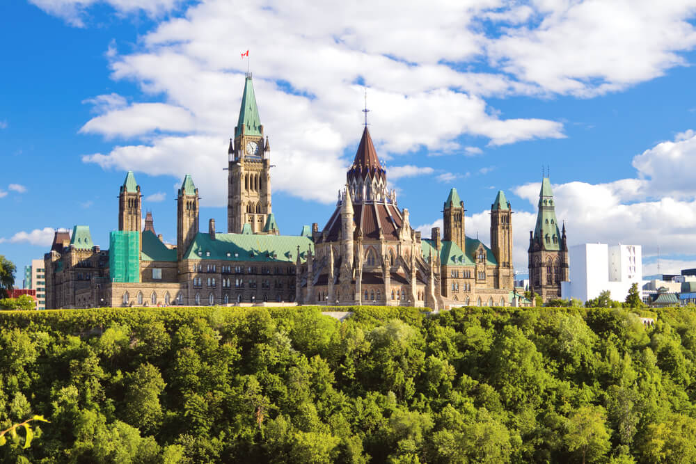 A photo of the parliament building in Ottawa